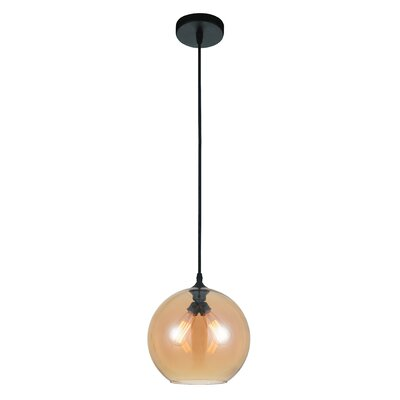 Glass 2-Light Globe Pendant Shade Color: Amber