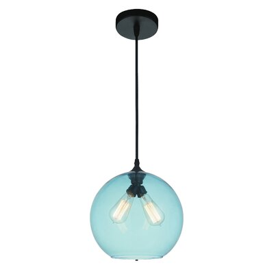 Glass 2-Light Globe Pendant Shade Color: Blue