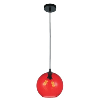 Glass 2-Light Globe Pendant Shade Color: Red