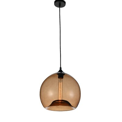 Glass 1-Light Mini Pendant  Shade Color: Brown