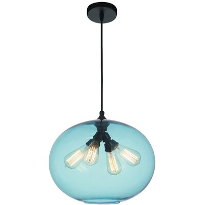 Glass 4-Light Globe Pendant Shade Color: Blue