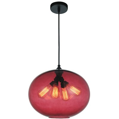 Glass 4-Light Globe Pendant Shade Color: Purple