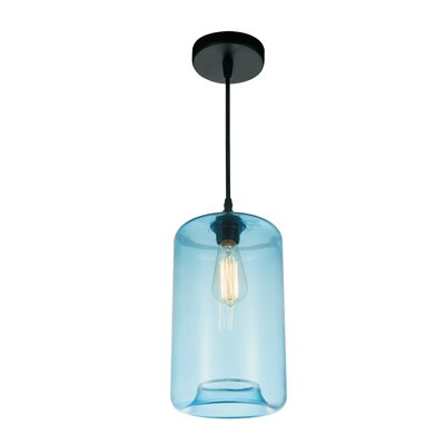 Glass 1-Light Mini Pendant  Shade Color: Blue
