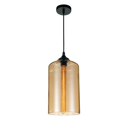 Glass 1-Light Mini Pendant Shade Color: Cognac