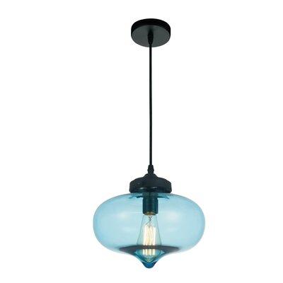 Glass 1-Light Mini Pendant  Shade Color: Blue