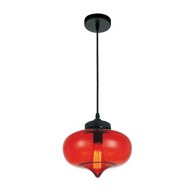 Glass 1-Light Mini Pendant  Shade Color: Red