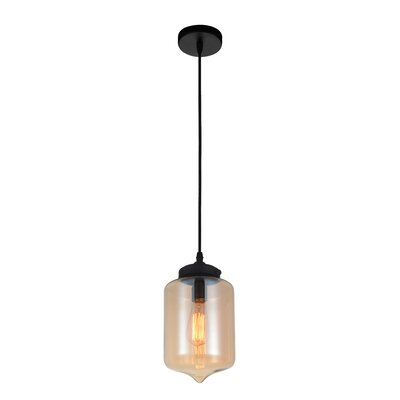 Glass 1-Light Mini Pendant Shade Color: Amber