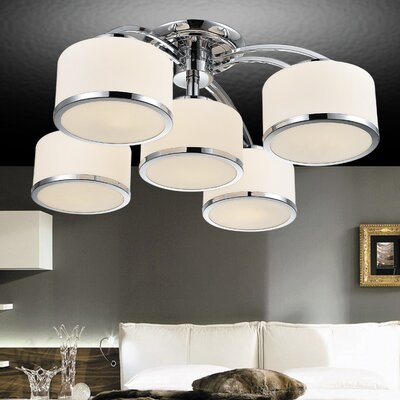 Frosted 5-Light Semi Flush Mount