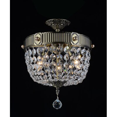 Brass 3-Light Semi Flush Mount