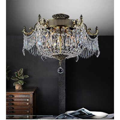 Brass 6-Light Semi Flush Mount