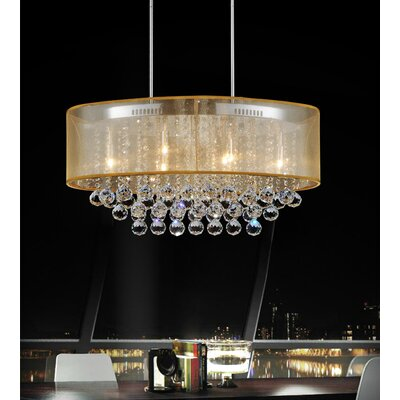 Radiant 6-Light Drum Chandelier Finish: Antique Brass, Crystal Color: Clear, Shade Color: Gold