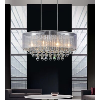 Radiant 6-Light Drum Chandelier Finish: Chrome, Shade Color: White, Crystal Color: Clear