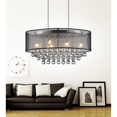 Radiant 6-Light Drum Chandelier Finish: Chrome, Shade Color: Black, Crystal Color: Clear