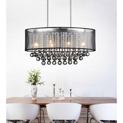 Radiant 6-Light Drum Chandelier Finish: Chrome, Shade Color: Black, Crystal Color: Smoke