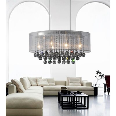 Radiant 6-Light Drum Chandelier Finish: Chrome, Shade Color: White, Crystal Color: Smoke