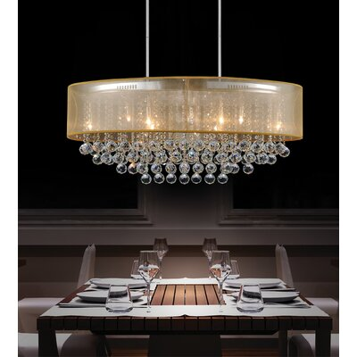 Radiant 9-Light Drum Chandelier Shade Color: Gold, Crystal Color: Clear