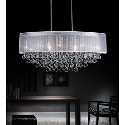 Radiant 9-Light Drum Chandelier Shade Color: White, Crystal Color: Clear