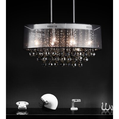 Radiant 9-Light Drum Chandelier Shade Color: Black, Crystal Color: Smoke