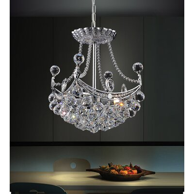 4-Light Crystal Chandelier Size: 87 H x 10 W x 10 D