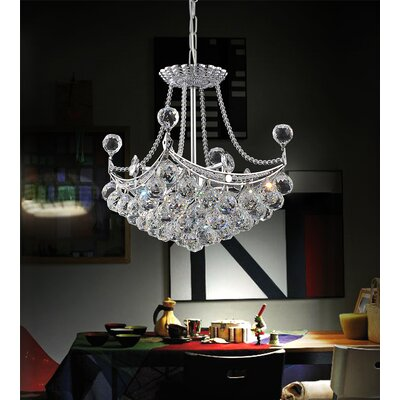 4-Light Crystal Chandelier Size: 90 H x 14 W x 14 D