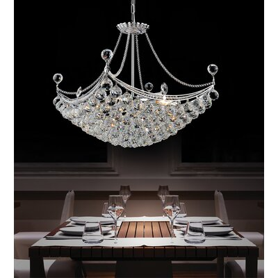 4-Light Crystal Chandelier Size: 92 H x 16 W x 16 D