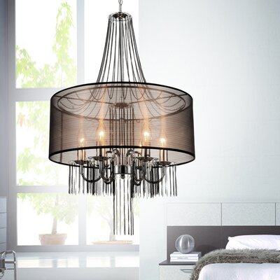 6-Light Drum Chandelier Finish: Brown