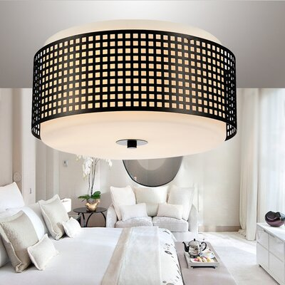 2-Light Flush Mount Shade Color: Black