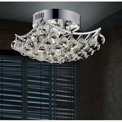 4-Light Semi Flush Mount Size: 8 H x 14 W x 14 D