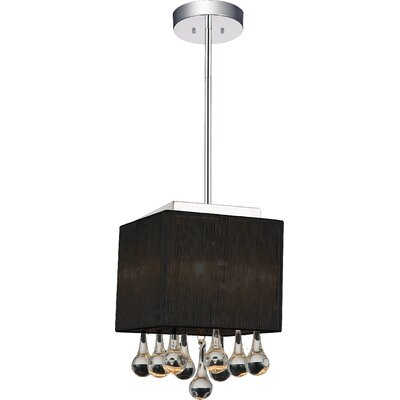 Water Drop 1-Light Drum Pendant Shade Color: Black
