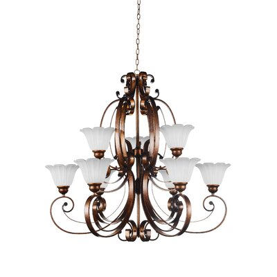 Victorian 9-Light Shaded Chandelier