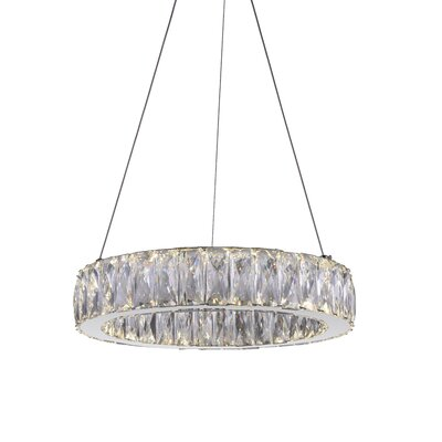 Juno 1-Light LED Crystal Pendant Size: 5