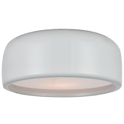 Campton 2-Light Flush Mount Fixture Finish: White