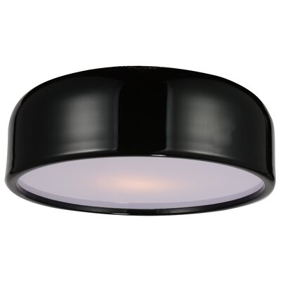Campton 3-Light Flush Mount Fixture Finish: Black