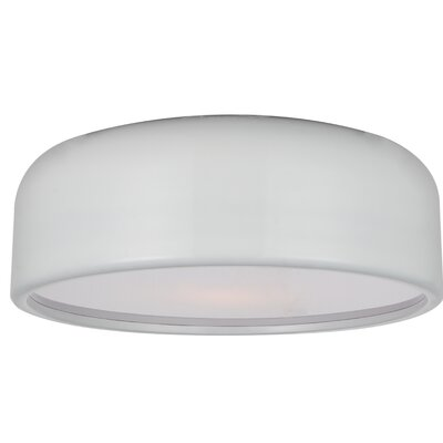 Campton 3-Light Flush Mount Fixture Finish: White