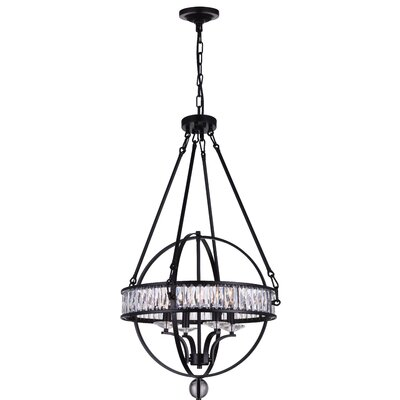 Arkansas 6-Light Crystal Chandelier Finish: Black