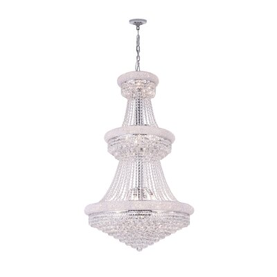 34-Light Empire Crystal Chandelier Finish: Chrome