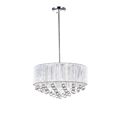 Water Drop 9-Light Drum Pendant Shade Color: Silver