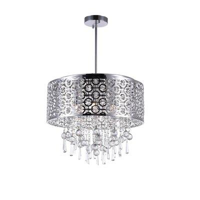 6-Light Crystal Drum Pendant Size: 60 H x 20 W x 20 D