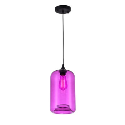 Glass 1-Light Mini Pendant  Shade Color: Purple