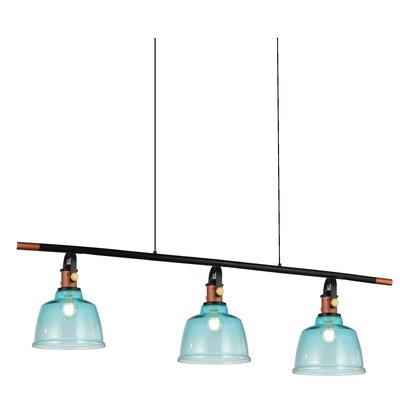 Tower Bell 3-Light Kitchen Island Pendant Shade Color: Blue
