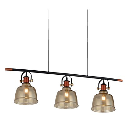 Tower Bell 3-Light Kitchen Island Pendant Shade Color: Cognac