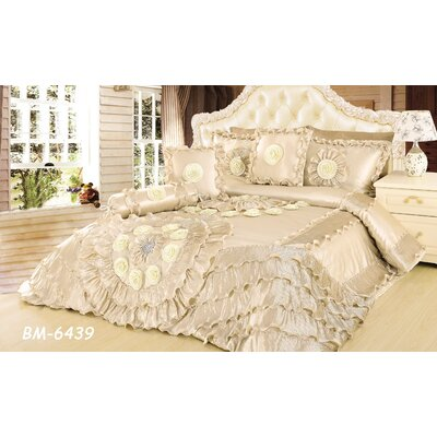 Wedding Chamber 6 Piece Comforter Set Size: King, Color: Cream
