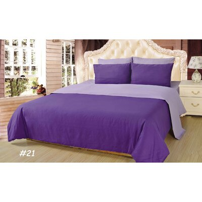 Reversible Comforter Set Color: Purple Lavender, Size: King