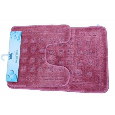 2 Piece Super Absorbent Solid Rug Set Color: Pink