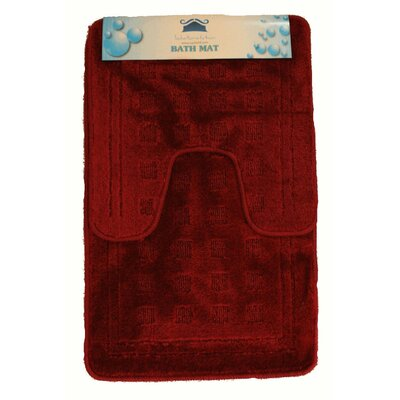 2 Piece Super Absorbent Solid Rug Set Color: Red