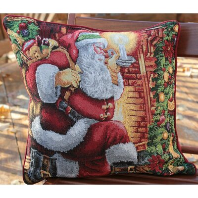 Down the Chimney Santa Claus Throw Pillow Cushion Cover