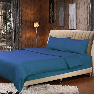 Duvet Cover Set Color: Ocean Blue, Size: Queen