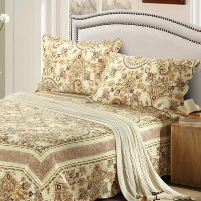 Summer Royal Medallion Reversible Bedspread Set Size: Full