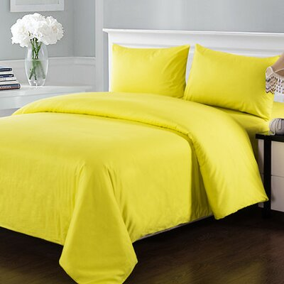 4 Piece Comforter Set Size: King, Color: Yellow