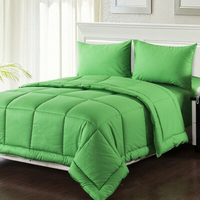 Box Stitched Comforter Set Size: Queen, Color: Green